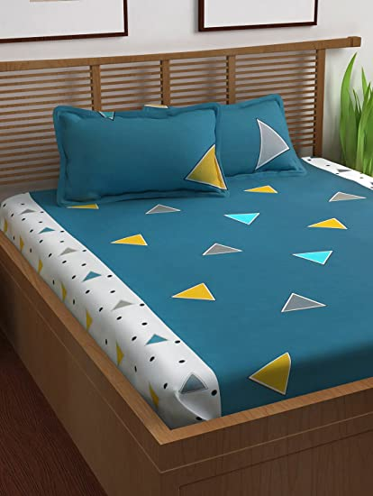 Story@Home Prism 120 TC Cotton Double Bedsheet with 2 Pillow Covers - Geometric, Queen Size, Navy Blue