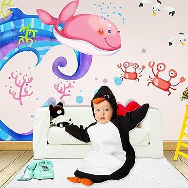 331bb7afa62 Baby Cute Sleeping Bag Sack Romper Fleece Penguin Sleepwear Swaddle  Bodysuit Unisex