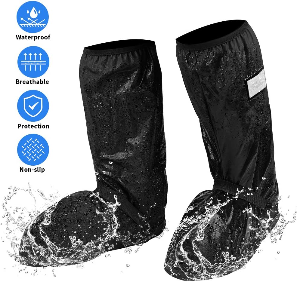 Walking Waterproof Motorcycle Boots Cover for Men Size 8.5-9 Women 10-11 Anti-slip Rain shoe Cover with Reflective Strip Universal for Riding Rain Boot Covers