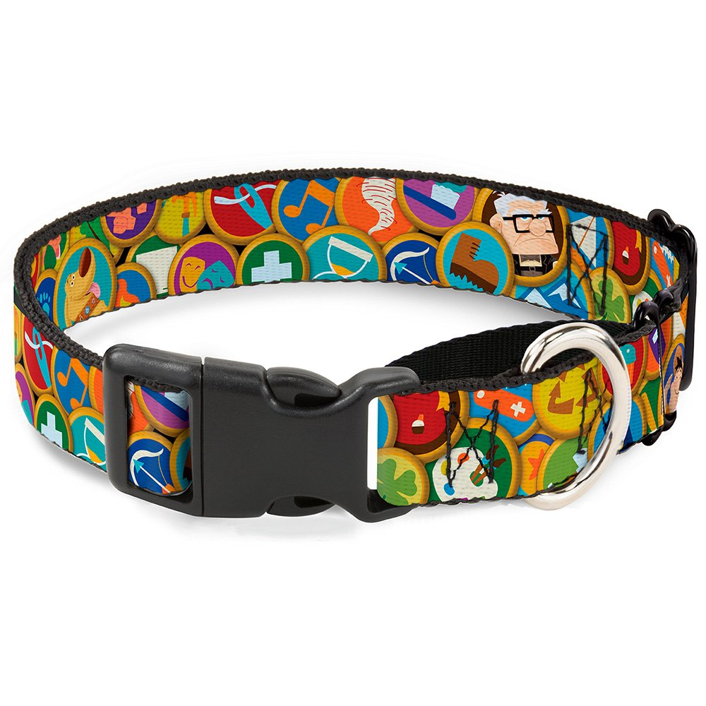 Buckle-Down Martingale Dog Collar Stacked Wilderness Explorers Badges 1  Wide Fits 11-17  Neck Size Medium