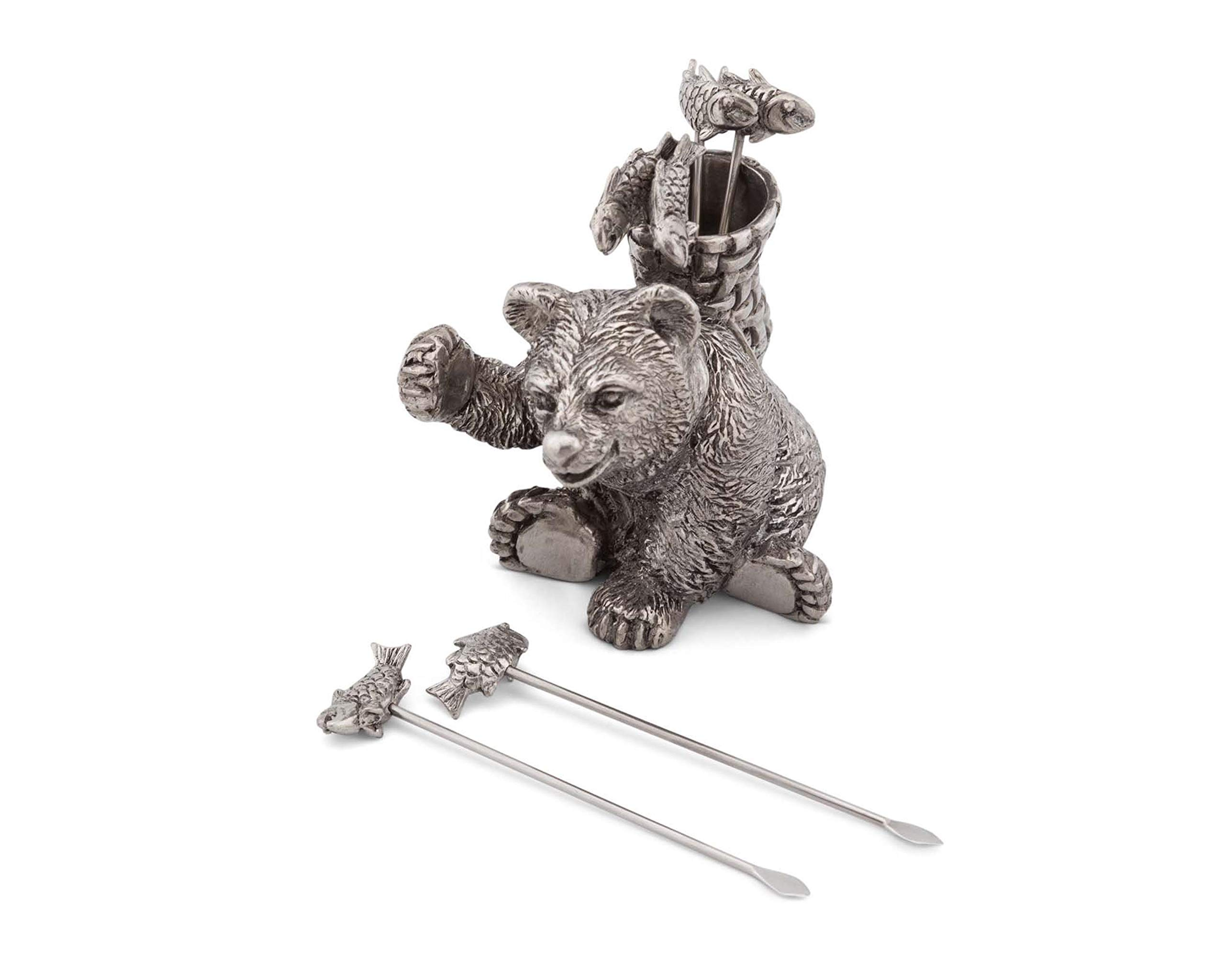 Vagabond House Pewter Camping Bear with 6 Fish Cheese Picks 3'' Tall