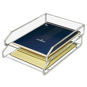 kantek acrylic double letter tray 4 34 x 14 x 10 1
