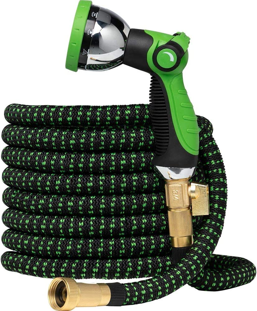 Garden Hose Flexible Expandable Hoses - by GreenFriendlyHome, Expanding Water Hose Strongest Hose Fabric + Multi Latex Core | Solid Brass Fittings Metal Nozzle (25 FT, Black Green)