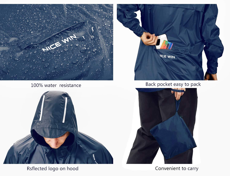 NICE WIN Veste de Pluie Portable Zippée à l'avant-Chaperon Capuche Imperméable Poncho en Taille de Poche Respirant pour Hommes et Femmes Bleu