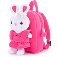 Gloveleya Kids Backpack for Baby Girls Gifts with Stuffed Rabbit 9 Inch Pink