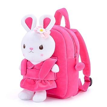 Metoo Easter Backpack Bunny Bags Kids Borse a Tracolla Rosa in Peluche 3D con Coniglio Cartone Animato