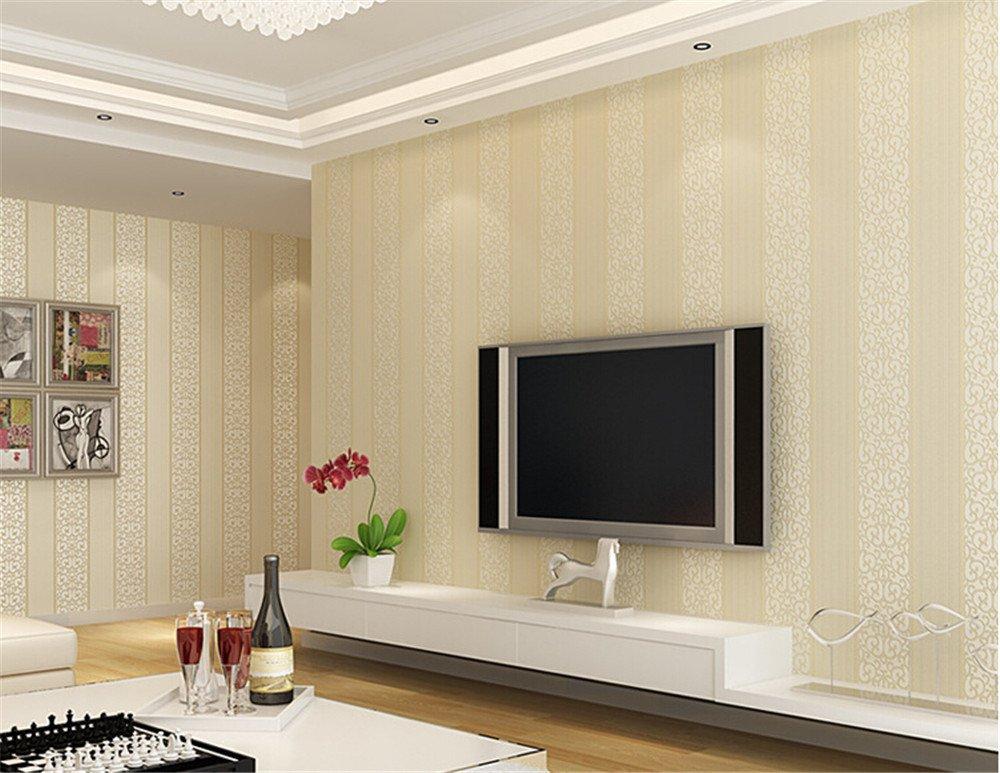 ufengke No Tejido Rayas Verticales Espesar 3D Bronceadores Flocado Papel Pintado Mural Para Dormitorio Sala de Estar Ufingo