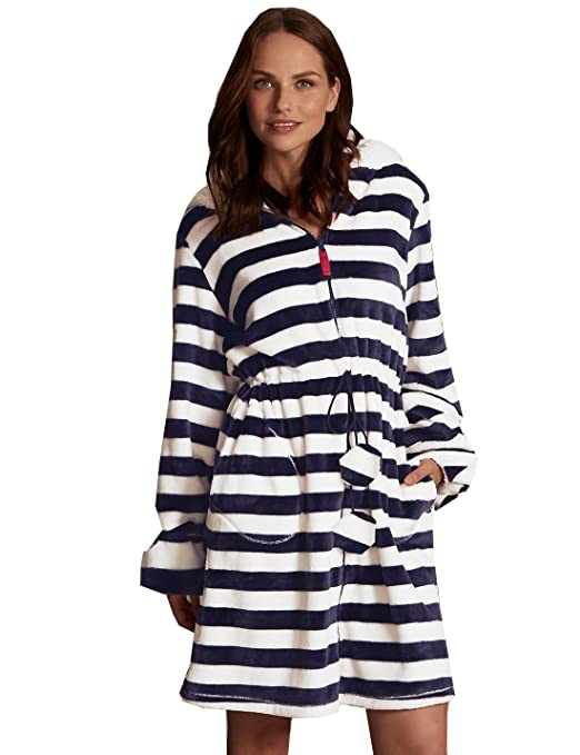LADIES MARKS & SPENCER M&S BLUE & WHITE STRIPED ZIP DRESSING GOWN ...
