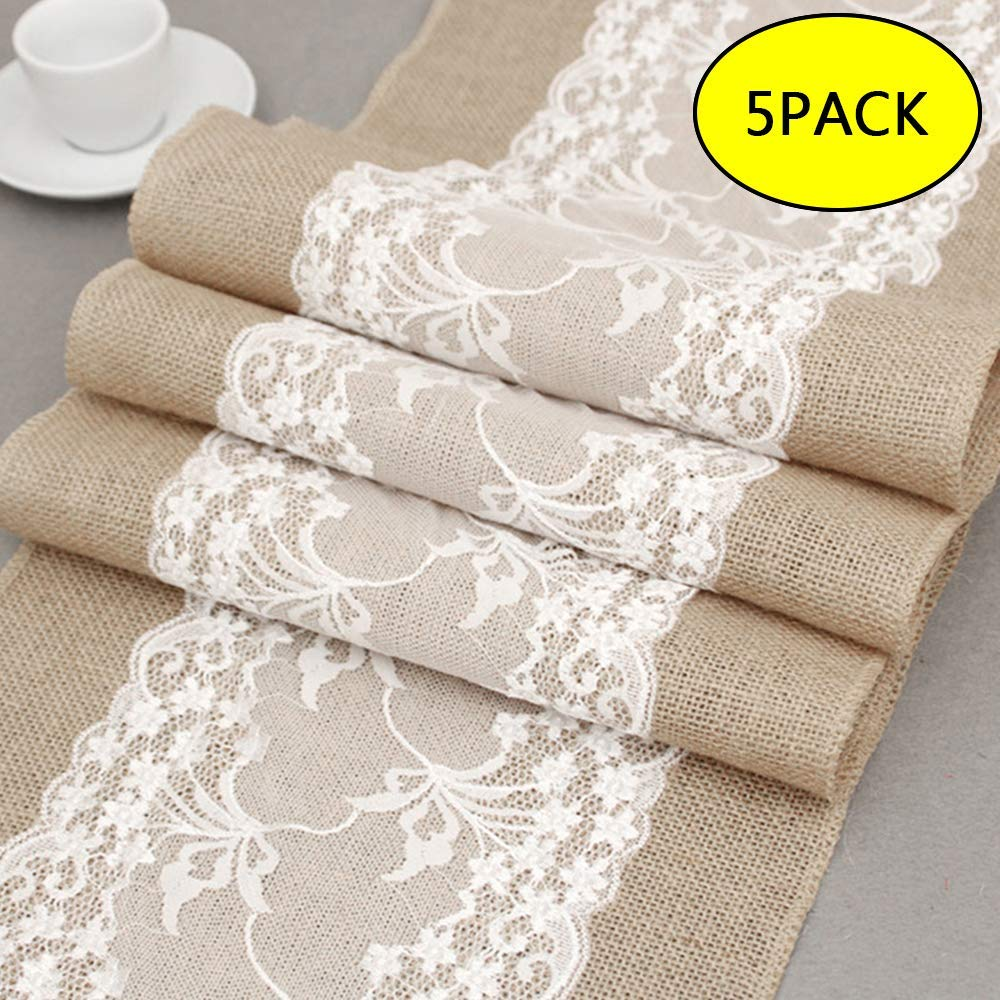 ODOMY 5Pcs 12X108 Burlap Lace Hessian Table Runner Rustic Natural Jute Country Wedding Party Dining Table Decoration Farmhouse Decor (5pcs)