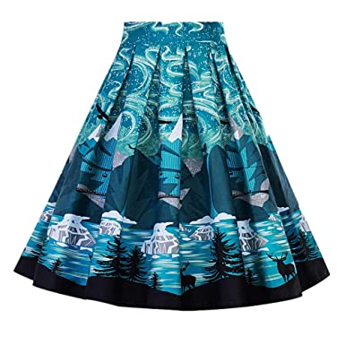 ec2531a48f Amazon.com: Salaks Women's Pleated Vintage Skirt Floral Print High Waist Skater  Flared A-line Midi Skirts: Clothing