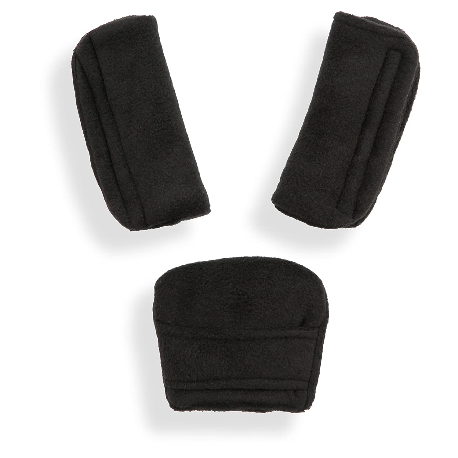 BELTS PADS SHOULDER STRAP & CROTCH cover UNIVERSAL Fits most buggy, stroller, car seat (Soft black) olobaby