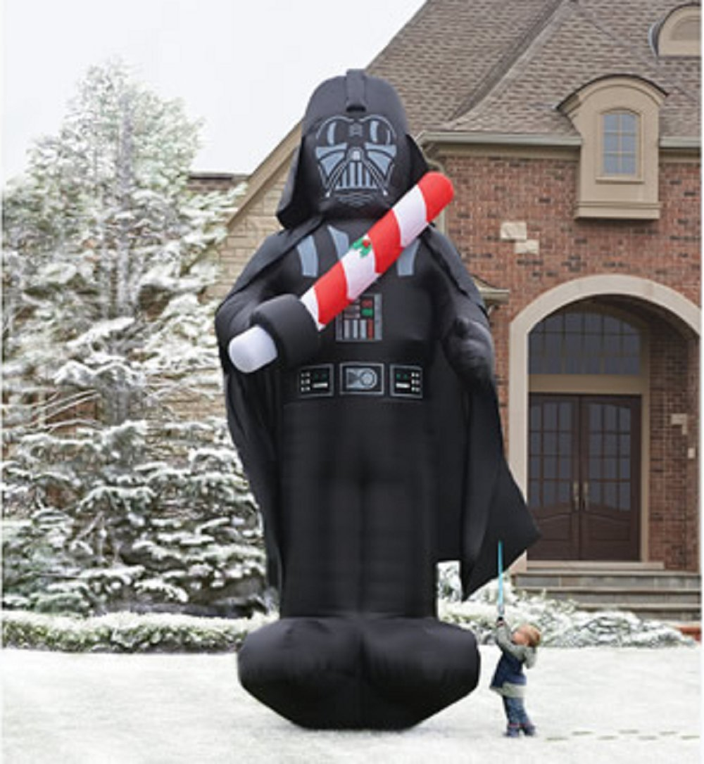 CHRISTMAS INFLATABLE GIANT 16 FT TALL STAR WARS DARTH VADER HOLDING CANDY CANE LIGHT SABER BY GEMMY