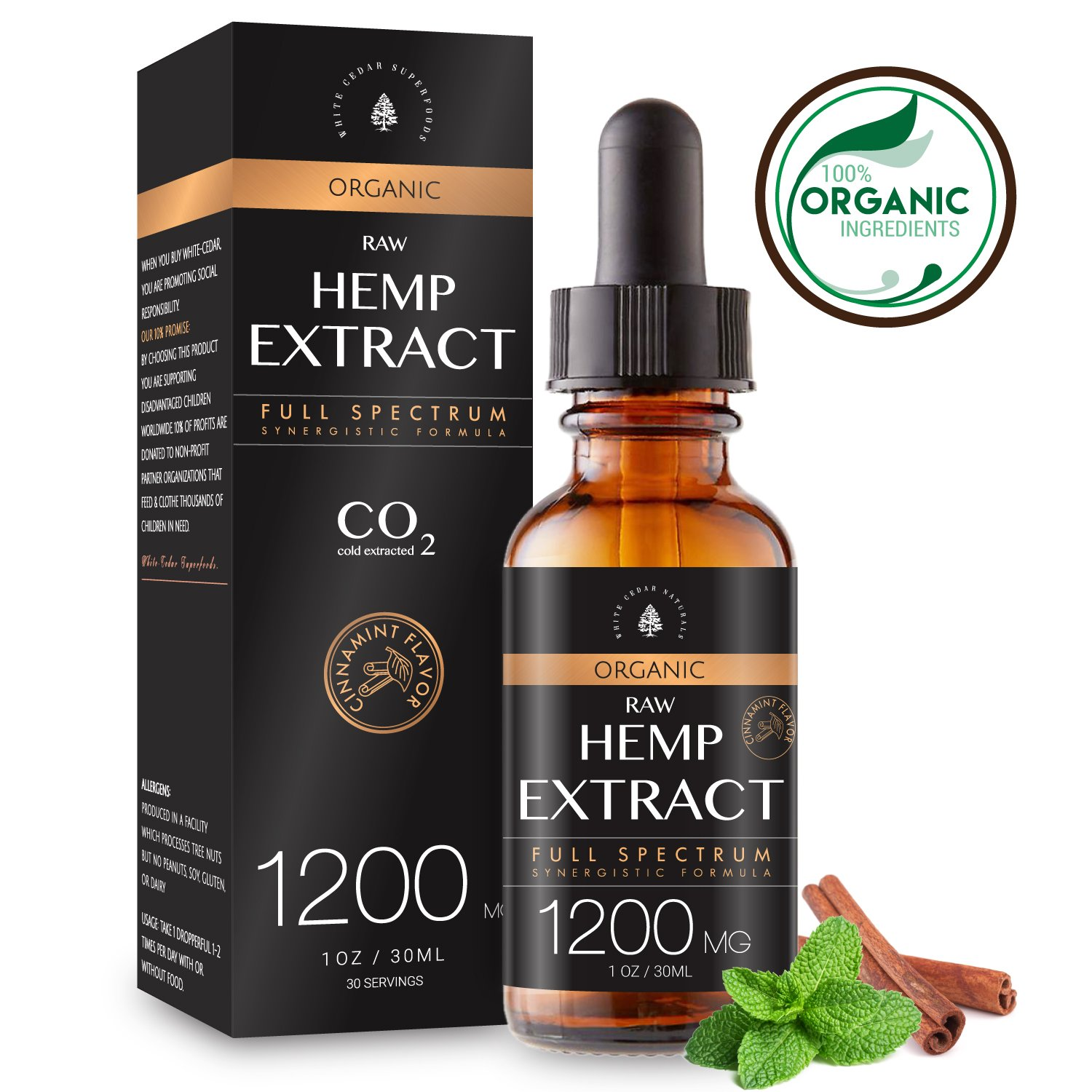 Organic Hemp Extract for Pain & Anxiety Relief (1200MG), Cinnamint Flavor, Full Spectrum, Blended with Organic Hemp Seed Oil for Optimal Absorption, CO2 Cold Extracted, Rich in MCT Fatty Acids, 1oz