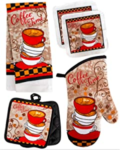 TopNotch Outlet Kitchen Decor - Towel Linen Set (6 Pc) Coffee Themed Cups and Beans - Kitchen Towel 2 Potholders 2 Scrubber Dishcloths 1 Oven Mitt - Latte Espresso Cafe Diner - Coffee Decor