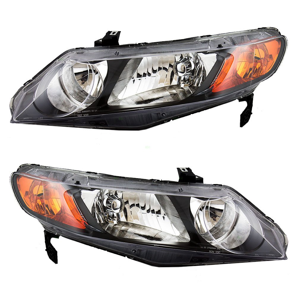 Pair Set Headlight Units with Amber Park Lens Replacement for Honda Civic Sedan 33151SNAA02 33101SNAA02 New Aftermarket