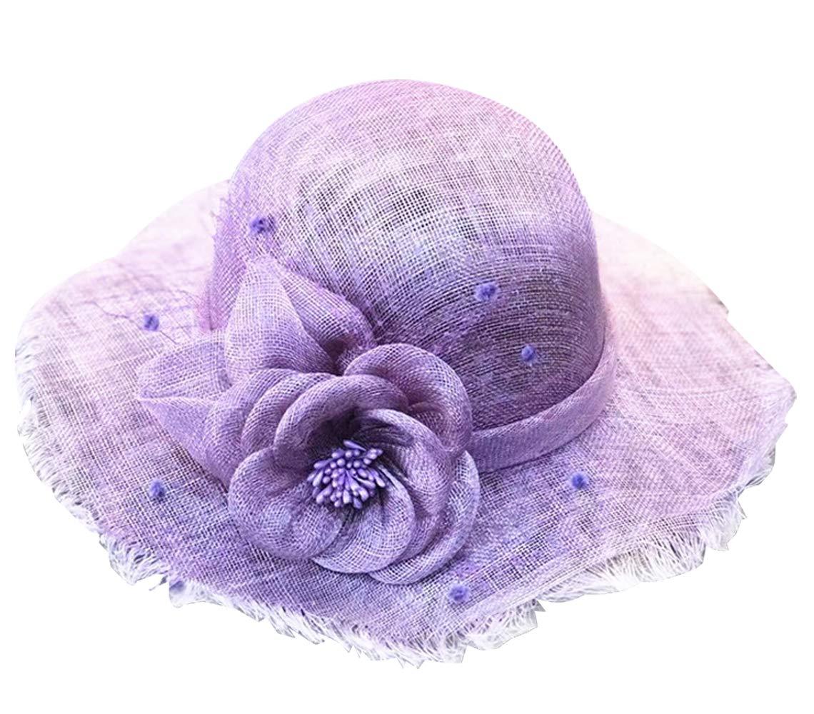 Edith qi Sun Hat Floppy Wide Brim Beach Cap Derby Church Cocktail Wedding Tea Party Hats