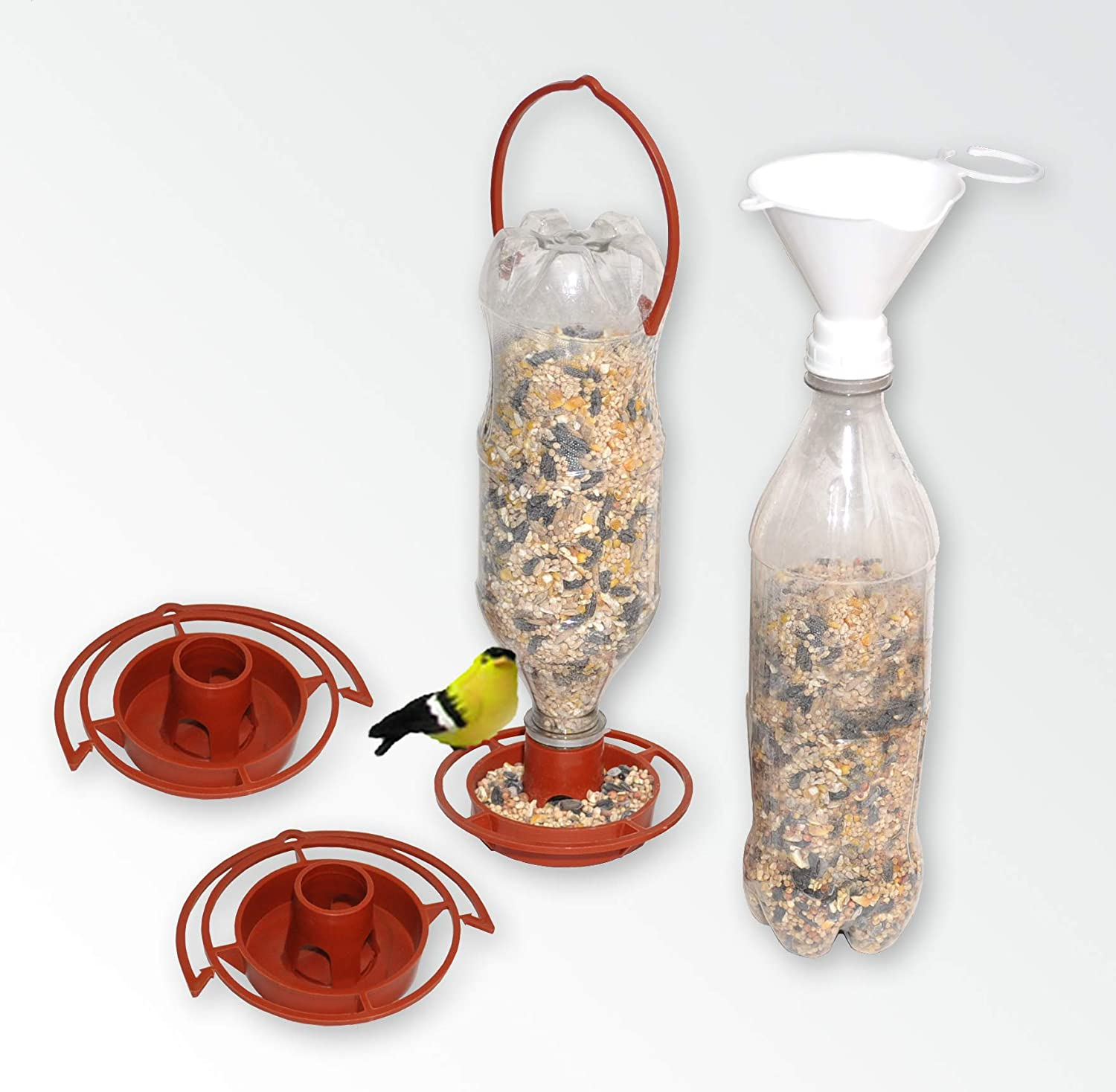 Gadjit 3 Hanging Wild Bird Feeder Kits & Twist-on Bird Seed Filling Funnel | Fun Inexpensive Project for Kids at Home | Promotes Plastic Bottle Re-use Pack of 3 (Terra Cotta)