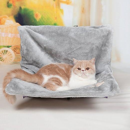 HOOPET Gato Hamaca Cuna Cama Radiador Cojín con Dispositivo de Sujeción Ajustable y Extraíble Acogedor Efecto de Piel de Oveja Cubierta (Gris): Amazon.es: Productos para mascotas