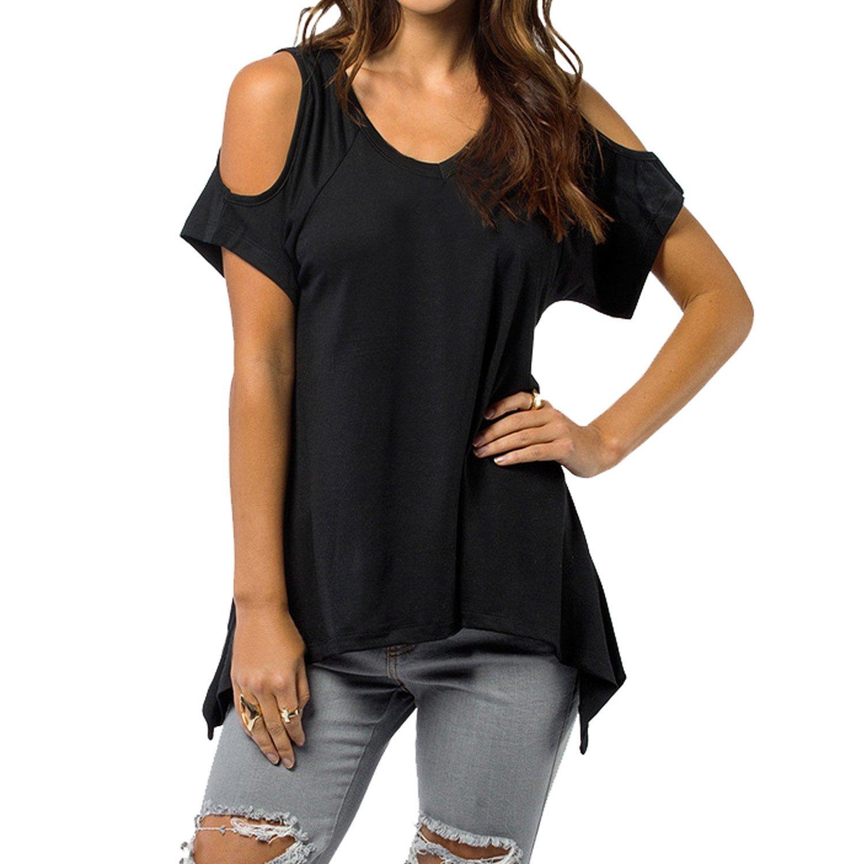 SUNNOW® Sexy Damen T-Shirt Trägerlos Fischschwanz Saum Asymmetrisch V-Ausschnitt Kurzarm Blusen Frühling Sommer