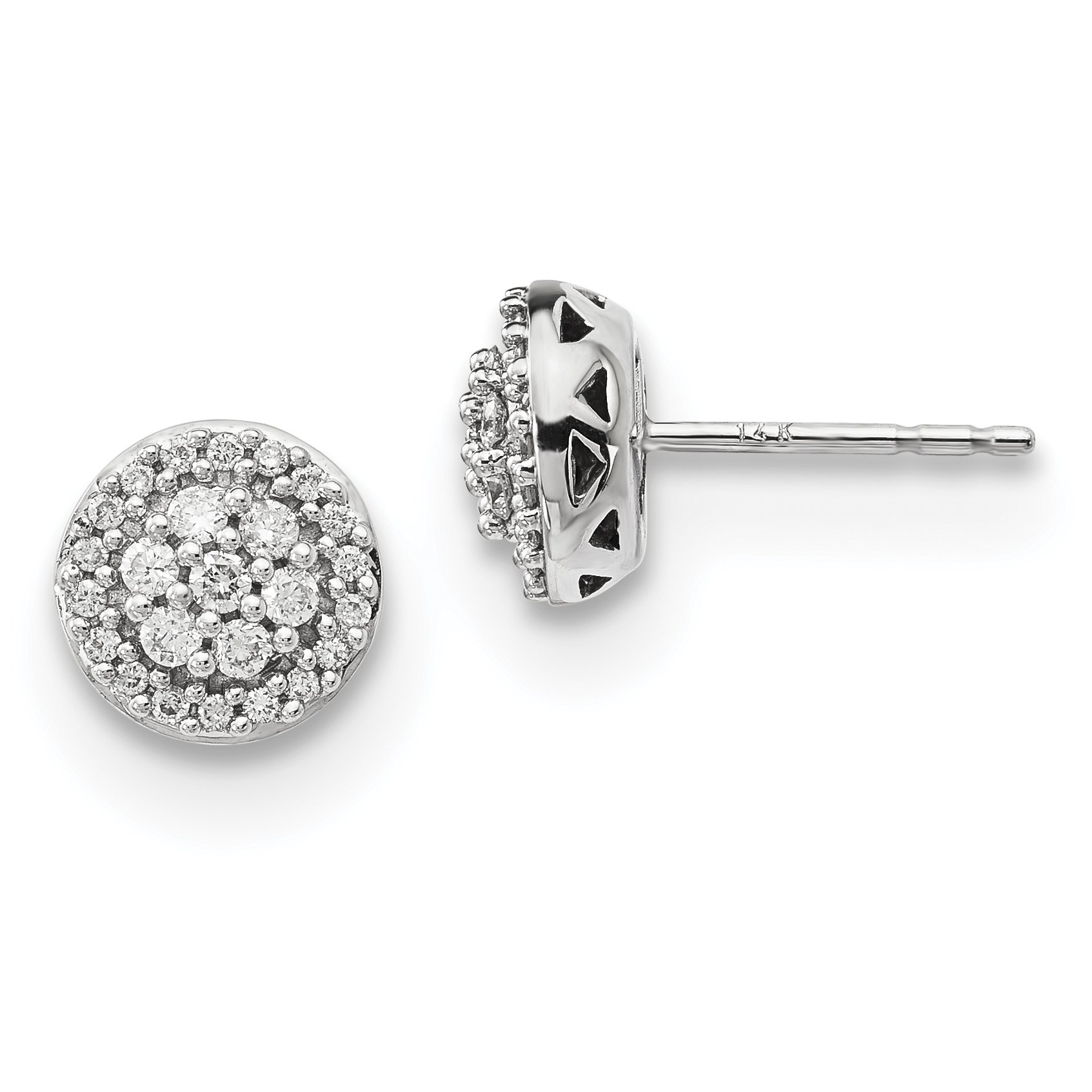 ICE CARATS 14k White Gold Diamond Post Stud Ball Button Earrings Fine Jewelry Gift Set For Women Heart