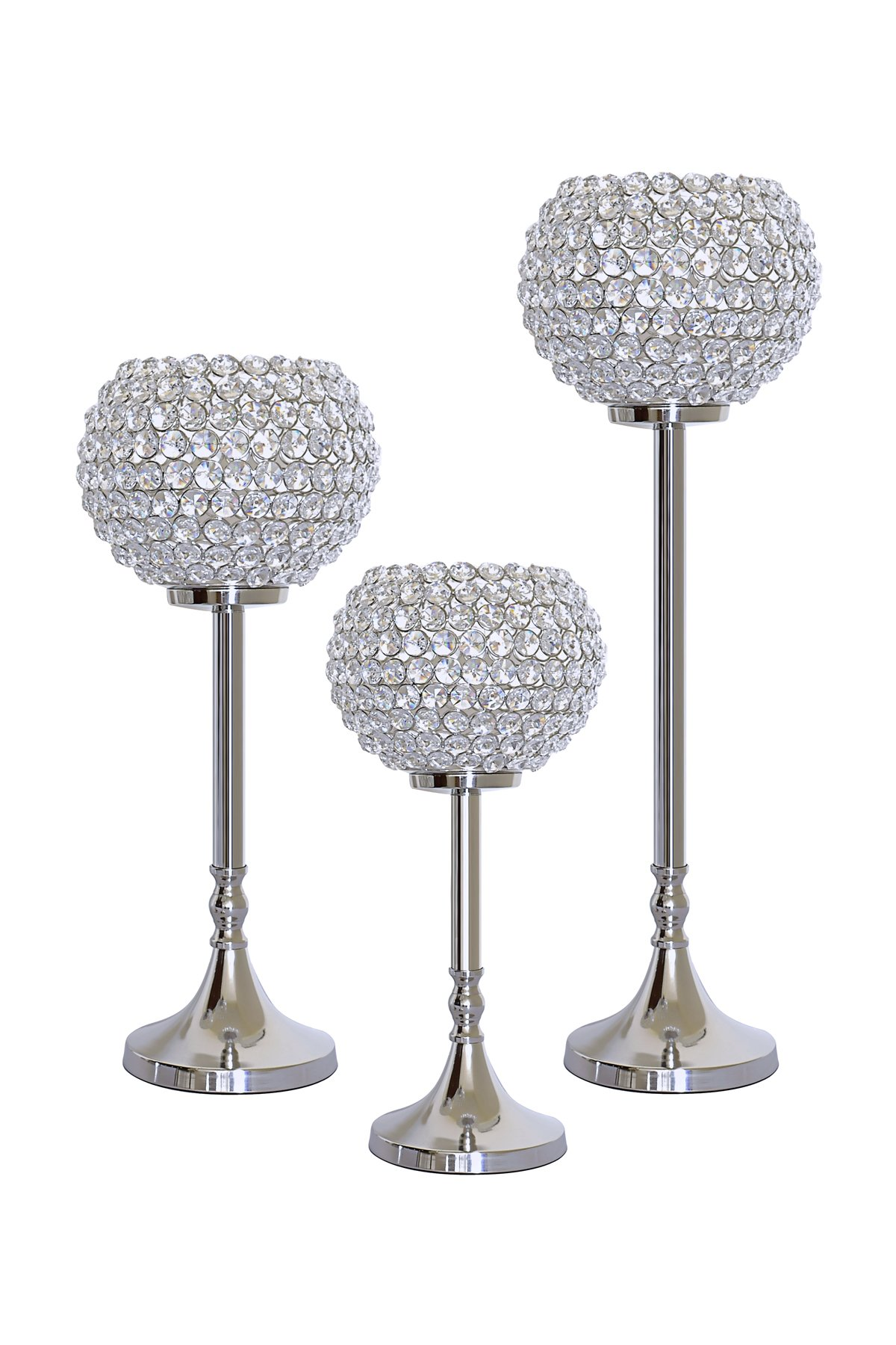 Set of 3 Crystal Votive Pillar Candle Holders Table Wedding Centerpieces Best Home Décor Gifts