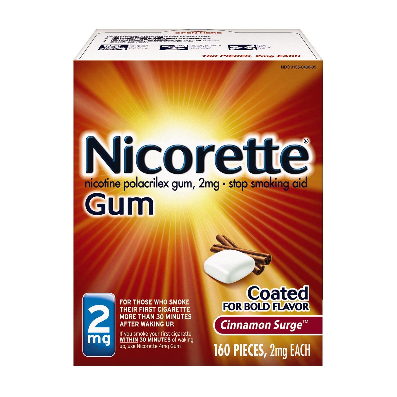 Nicorette Nicotine Gum to Quit Smoking, 2 mg, Cinnamon Surge Flavored Stop Smoking Aid, 160 Count by Nicorette