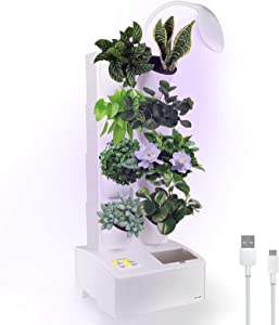 Self Watering Hydroponics Growing System with LED Grow Light for Indoor Plants, 8 Pots Smart Vertical Raised Garden Planter Bed, Automatic Cycle Timing Function Germination Kit for Herb Flower