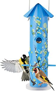 Kingsyard Bird Feeders for Outside Hanging Metal Tube Bird Feeder with 6 Bird Feeding Station 1lb Bird Seed Capacity for Oriole Finch Cardinal NOT Squirrel Proof