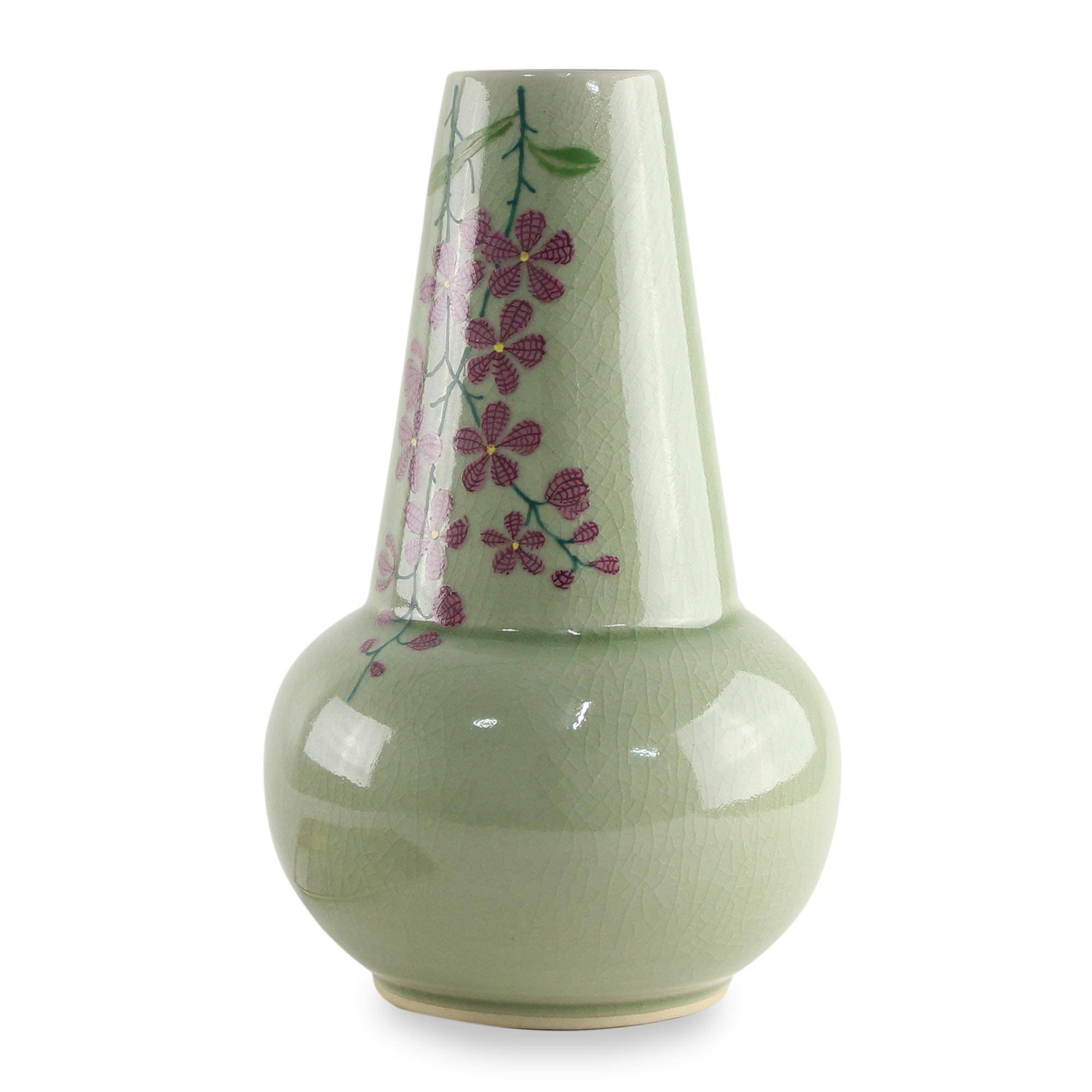 NOVICA Decorative Ceramic Celadon Vase, Green and Pink, 'Hanging Flowers' by NOVICA