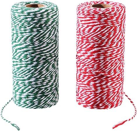 200 metri di corda in cotone Spago di cotone rosso spago rosso 2 mm cordino rosso natalizio per confezioni regalo