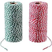 corda metallica rossa per cavo per gioielli lacci intrecciati con filo rosso 100M con bobina corda artigianale fai-da-te e corda da imballaggio Spago rosso di Natale con spago