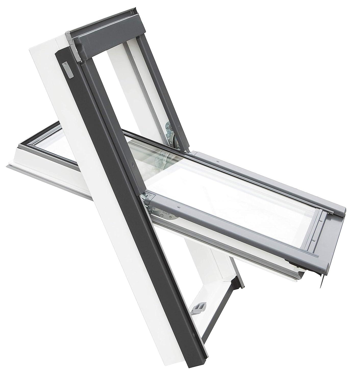 Balio Dachfenster APB aus Kunststoff incl Universal Eindeckrahmen 0-50mm 66 x 112