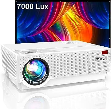 Opinión sobre Proyector, WiMiUS 7000 Lúmenes Proyector Full HD 1920x1080P Proyector Cine en Casa Soporte 4K Contraste 10000: 1 Ajuste Digital 4D Pantalla 300