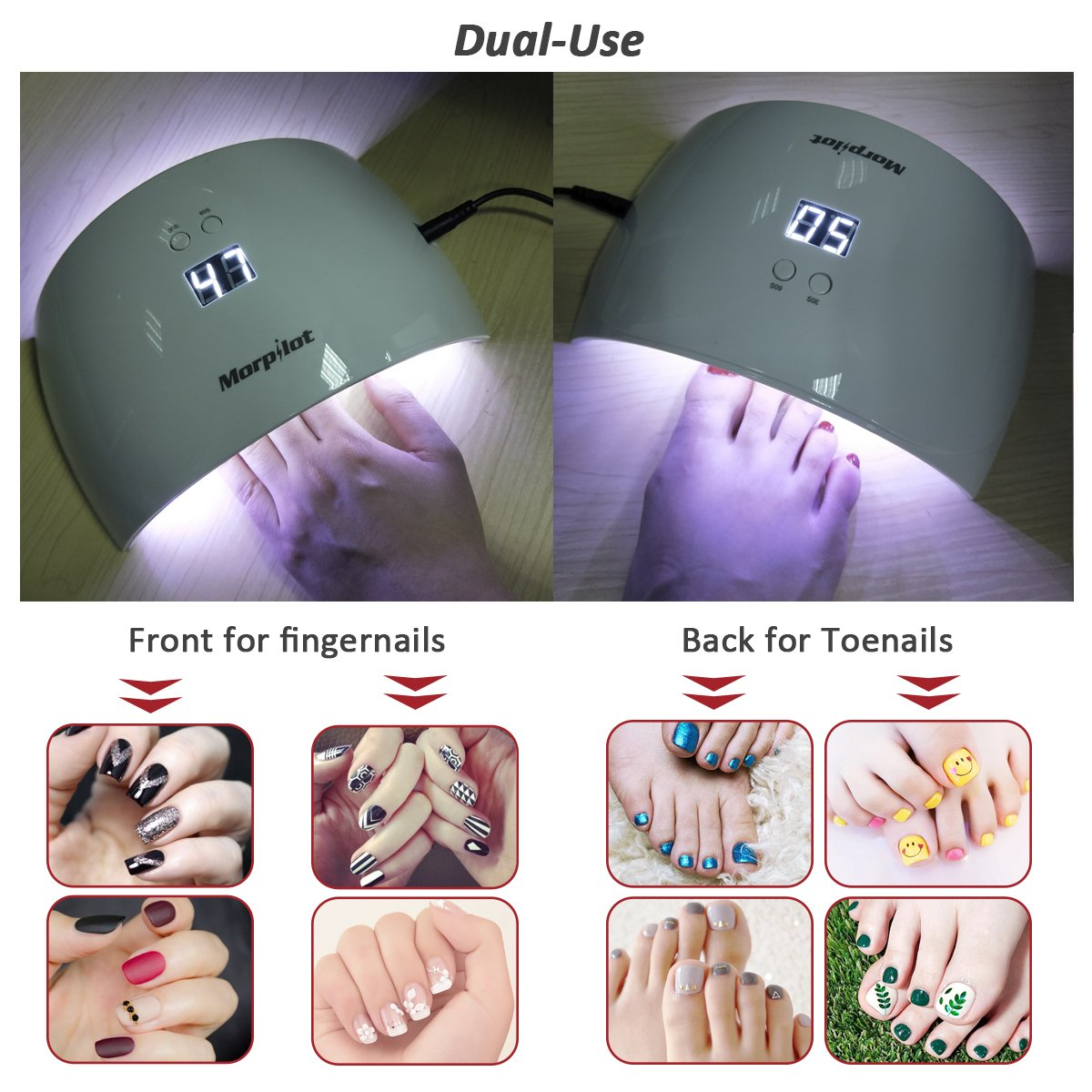 Morpilot 9X 24W LED UV Nail Dryer Curing Lamp Gel Polish Light UV Gel Nail Art Lamp With Sensor