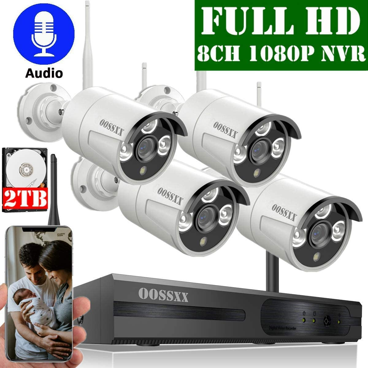2020 Update OOSSXX 8-Channel HD 1080P Wireless Security Camera System,4Pcs 1080P Wireless Indoor Outdoor IR Bullet IP Camera with One-Way Audio,P2P,App, HDMI Cord 2TB HDD Pre-Install