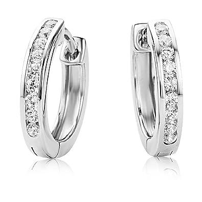 f78a89ddbc1f Miore Damen Creolen – Elegante Ring-Ohrringe aus 925 Sterling Silber mit 18  farblosen Zirkonia-Steinen – Damenschmuck Ø 16 mm  Amazon.de  Schmuck