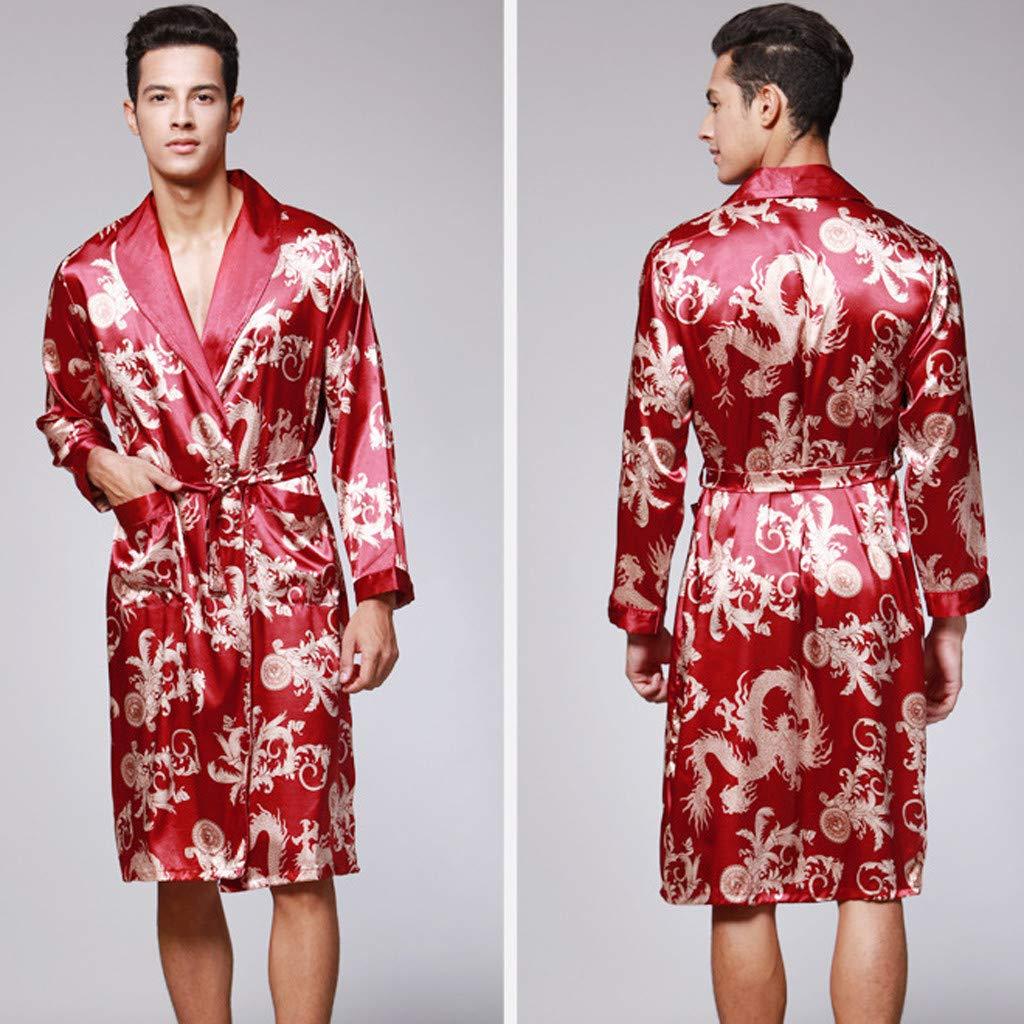 style/_dress Peignoir Homme Hommes Pyjamas Simulation en Soie Imprim/éS Serviette De Bain Noir Peignoir De Bain Homme