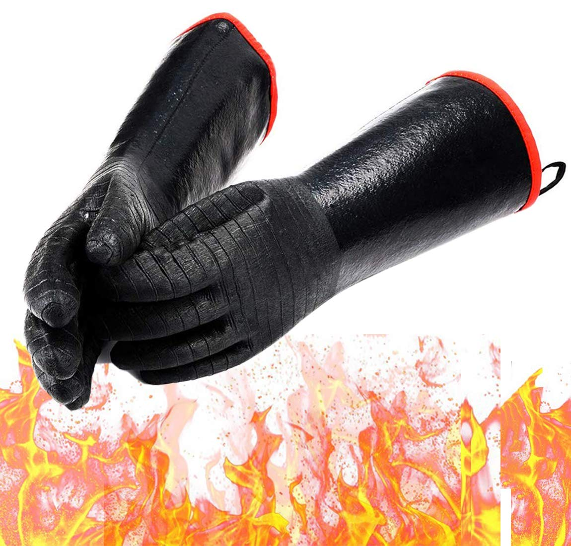 Schwer BBQ Gloves 932℉ Extreme Heat Resistant Gloves Waterproof Oil Resistant Grill Gloves for Turkey Fryer, Baking, Oven, Barbecue Neoprene Coating with Long Sleeve