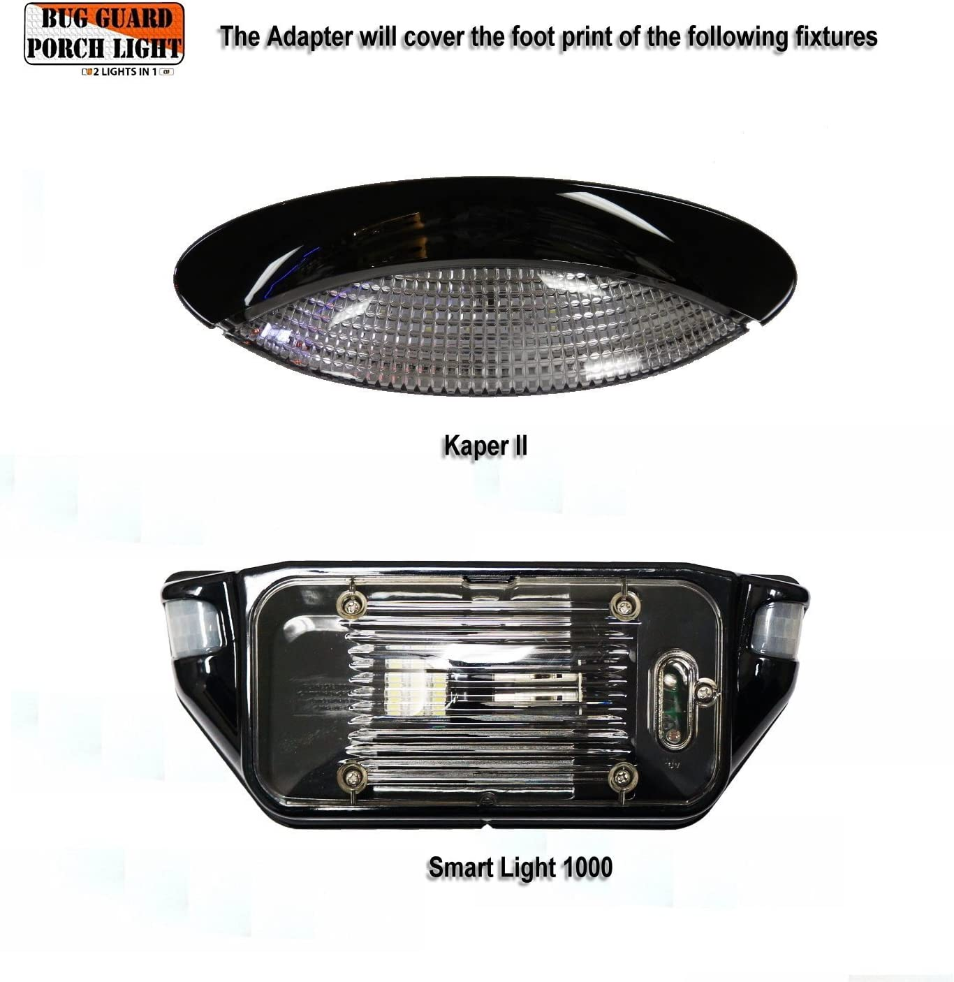 White //520 Lunen Amber BG520W-A 12 Volt Functional Exterior RV Long-Life LED Flood Porch Light with Bright 220 Lumen 2 Lights in one.