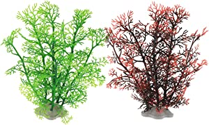 JIH Aquarium Plastic Plants Decorations,Fish Tank Artificial Water Plants, Non-Toxic & Safe for All Fish, 8 inch (Green+Dark Red)