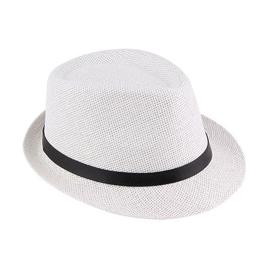 277e7fc744e Women Men Summer Casual Jazz Sun Hats Paper Straw Fedoras Cap with Black  Belt at Amazon Men s Clothing store