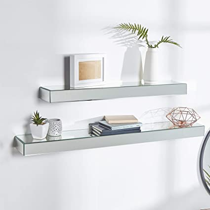 Amazon.com: Beautify Set of 2 Silver Mirrored Glass Shelves Floating ...