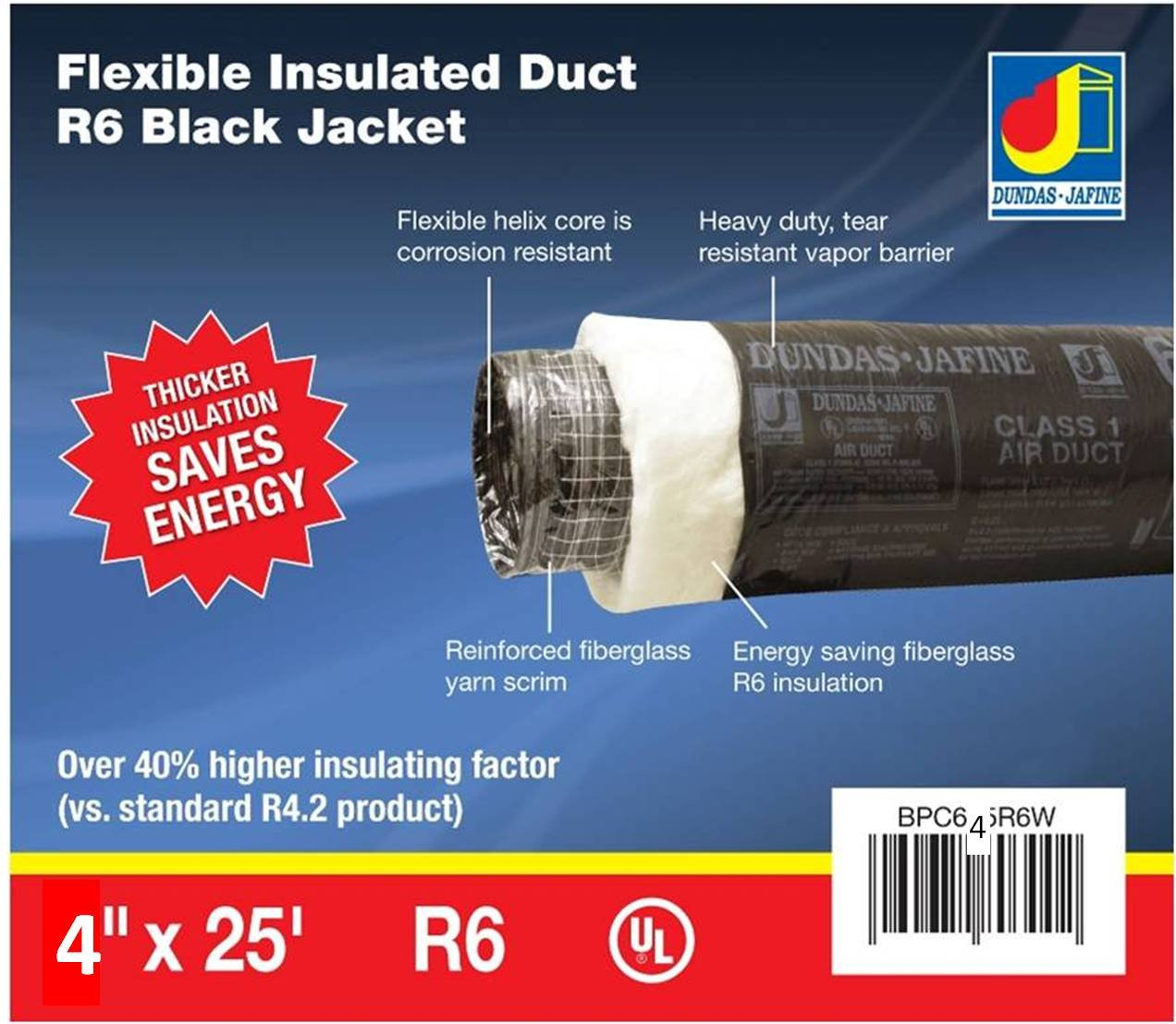 Dundas Jafine BPC425R6 Insulated Flexible Duct with Black Jacket, 4-Inches by 25-Feet