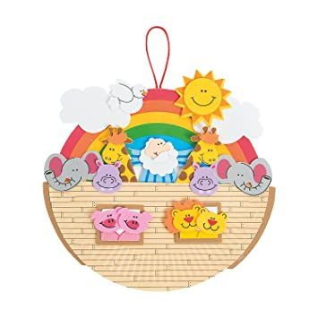 Amazon Com Fun Express Paper Plate Noah S Ark Craft Kit Beauty