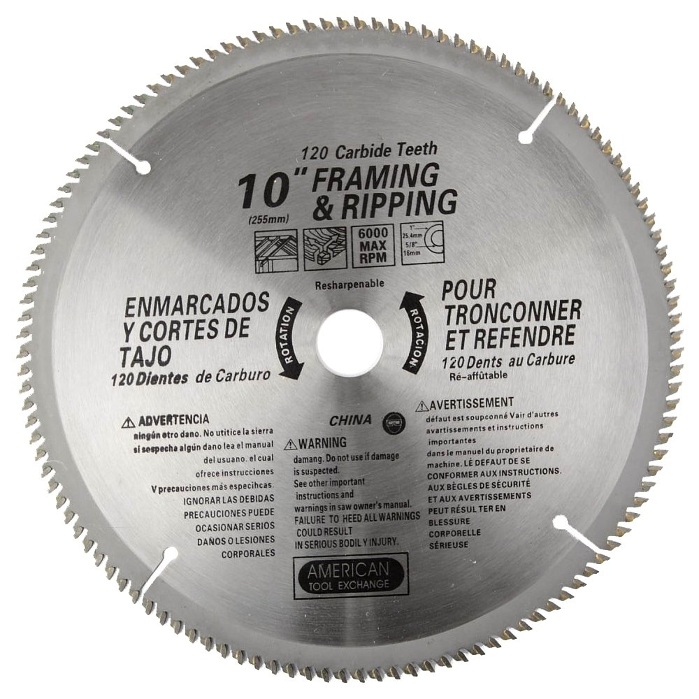 ATE Pro. USA 33086 120 Teeth Carbide Blade, 10''