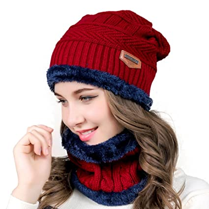 cb0c831dea1 Xianheng Winter Knitted Cap Warm Beanie Hat   Scarf for Women Men Red   Amazon.ca  Luggage   Bags