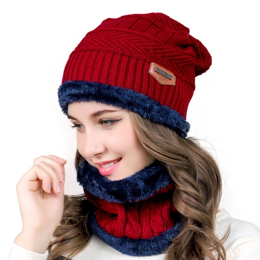Pinji 2PCS Hat Circle Scarf Set Warm Knitted Women Men Thick Beanie Skiing Outdoor Sports