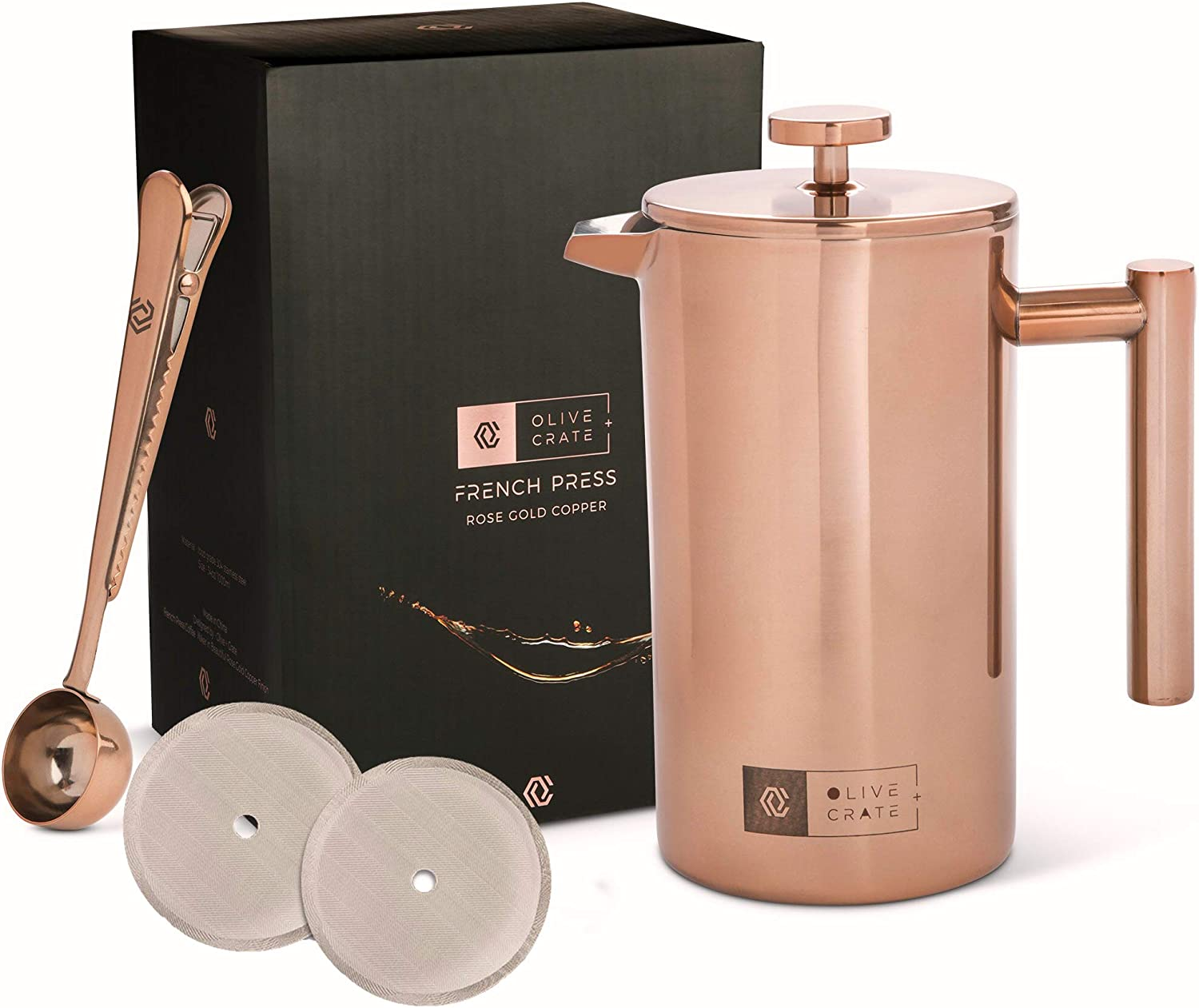 OLIVE CRATE Copper Stainless Steel French Press Coffee Maker Kit, Measuring Spoon and Clip – Large Portable Coffee Maker – Insulated French Press, Great for Travel and Outdoors, 34oz