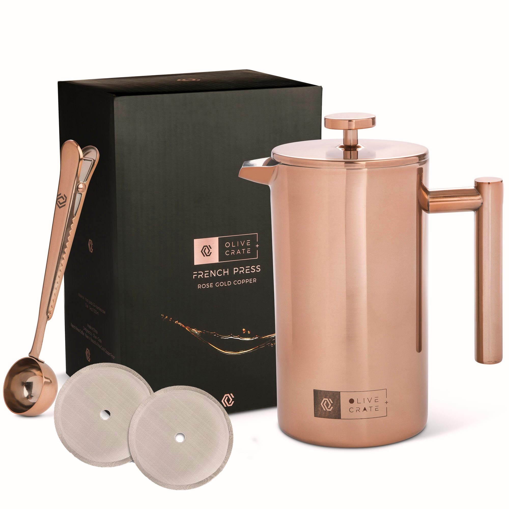 OLIVE + CRATE Copper Stainless Steel French Press Coffee Maker Kit, Measuring Spoon and Clip - Large Portable Coffee Maker - Insulated French Press, Great for Travel and Outdoors, 34oz by Olive + Crate