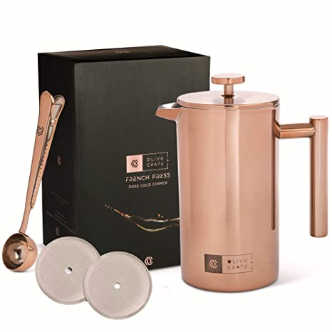 f46a93beeb3 OLIVE + CRATE Copper Stainless Steel French Press Coffee Maker Kit,  Measuring Spoon and Clip